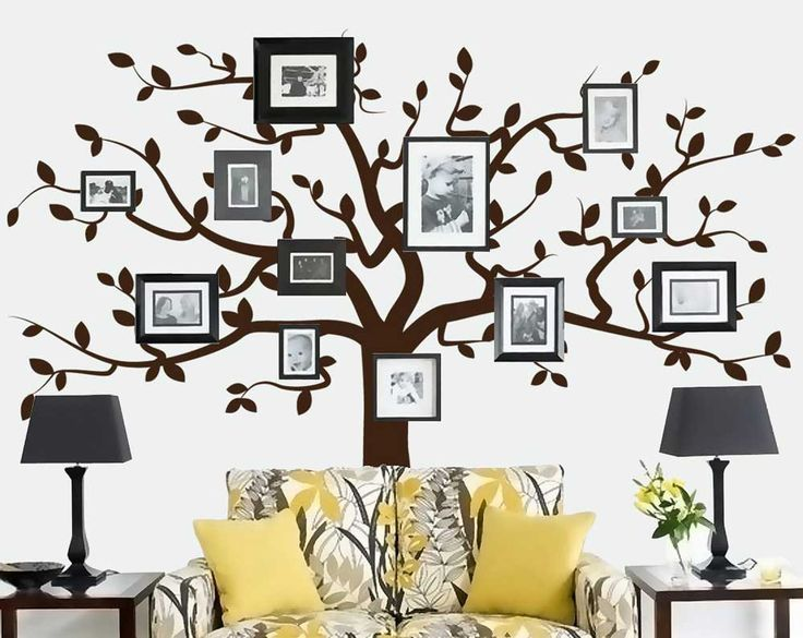 House painting pattern for living room with family tree wall decal picture