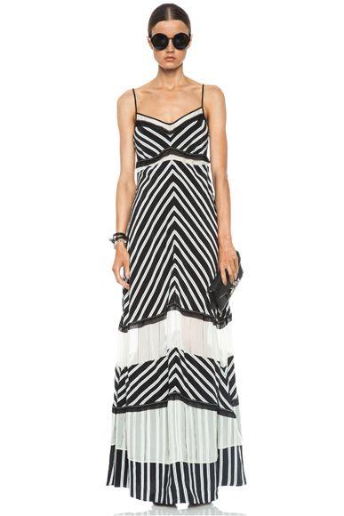 Chevron Stripe Silk Dress in Black & White by JONATHAN SIMKHAI. Long and cool for summer.