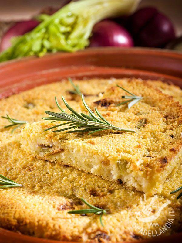 Tortino di couscous con cipolle e rosmarino