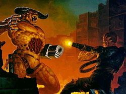 doom 1993 | ... and the Doomguy (Doom Marine) on the cover of Doom II: Hell on Earth