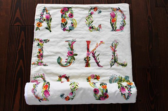 Crib size quilt abc floral baby blanket, minky backing, girl nursery inspiration, boho  #minitipi