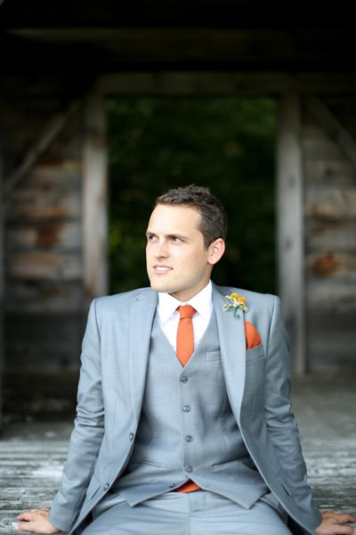 #grey tux for groom ... Groom's Wedding Guide ... https://itunes.apple.com/us/app/the-gold-wedding-planner/id498112599?ls=1=8  ♥  The Gold Wedding Planner iPhone App ♥