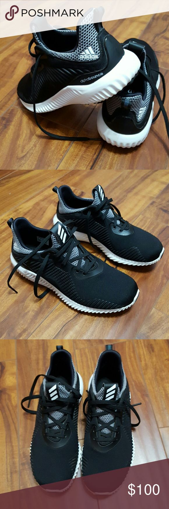 Adidas Alphabounce . Just showing off ?? Only selling for the price listed. I just Love love this shoes. Bought them a week ago. Good for the gym, running, and even hiking. But i cancelled.ny gym membership. So they have been sitting in my closet.  They are kids size 5y. Im 7 and they fit perrrrrfect! Adidas Shoes Athletic Shoes