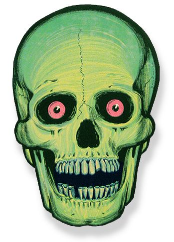 "VINTAGE HALLOWEEN ""GLOW in DARK"" SKULL DECORATION - Beistle '60s - I remember this!!! We used to have one of these.Damn if I wish I didn't still have it."