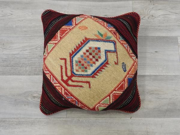 Brand new Persian Hand Made Kilim Rug Cushion, Size approx: 40cm x 40cm The original kilim is made of wool.