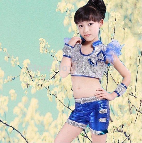Бесплатная доставка новое поступление блесток синий желтый 110xm-160cm современный танец костюм - сексуальные девушки хип-хоп танцевальные костюмы