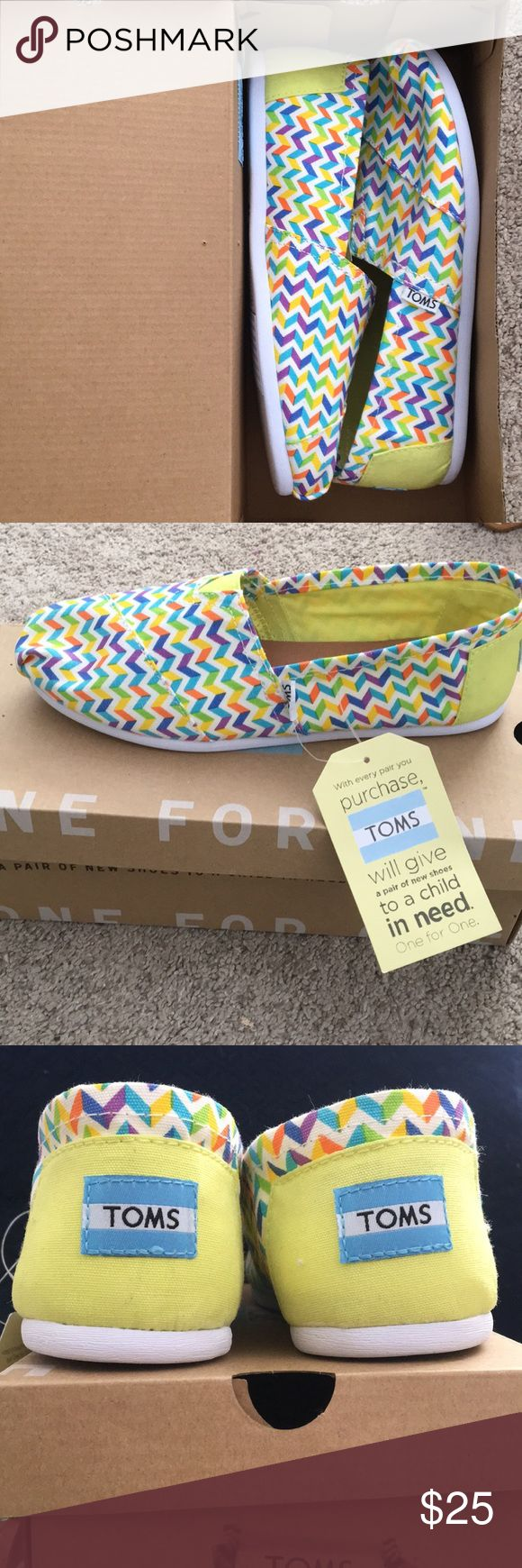 Brand New Toms Shoes Women's classic multi canvas chevron toms. Size 8. Never worn! Tag still on! Super cute! Toms Shoes Flats  Loafers