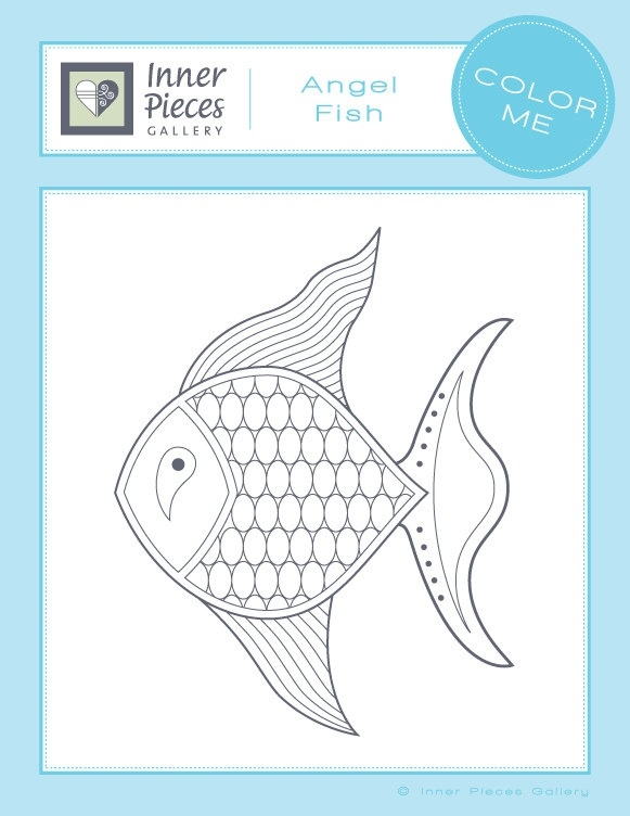 Printable Coloring Page For Kids Angel Fish