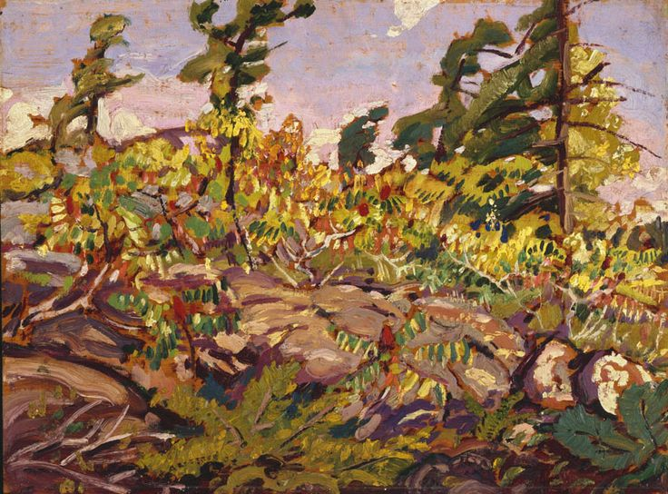 Arthur Lismer (1885 - 1969), Pine and Rocks, c. 1933, oil on wood panel, 30.5 x 40.8 cm, Gift of Colonel R.S. McLaughlin, 1968.7.10