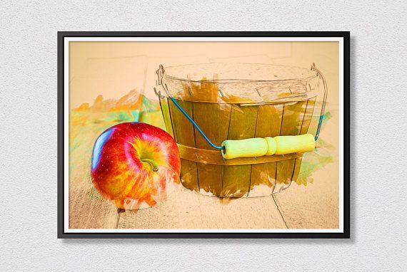 Apple Basket Printable Art  Photograph Art  Instant Download