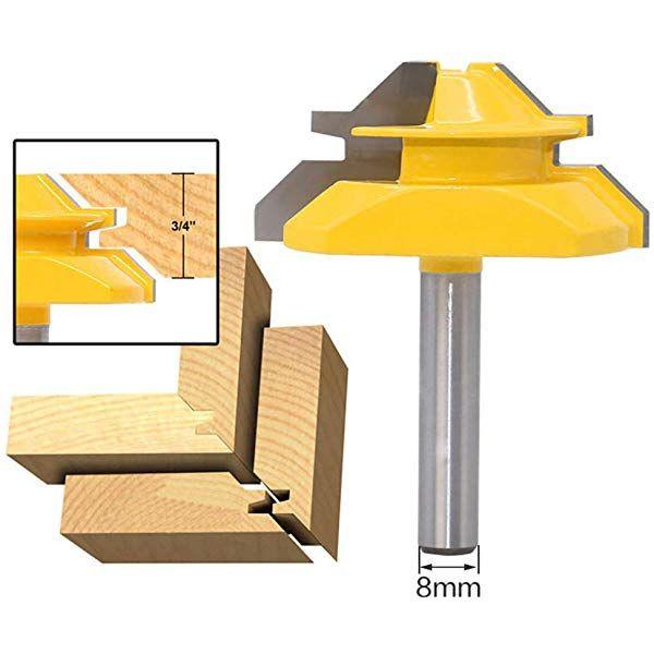 3 St 1//2  Shank 45 ° Lock Gehrungsfräser Bit Set Für Holzbearbeitung
