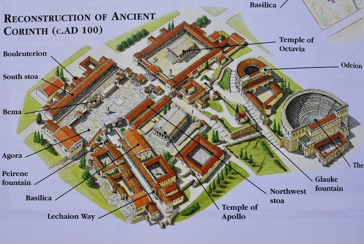 Reconstruction of Ancient Corinth, Greece (c.AD 100) - High angle view of the temple and theater complex, Temple of Apollo