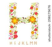 Alphabet Bright Floral - version two - stock vector