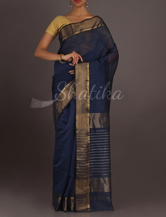 Tanya Navy Blue With Gold Border And Stipe Pallu #MaheshwariSilkCotton #Saree
