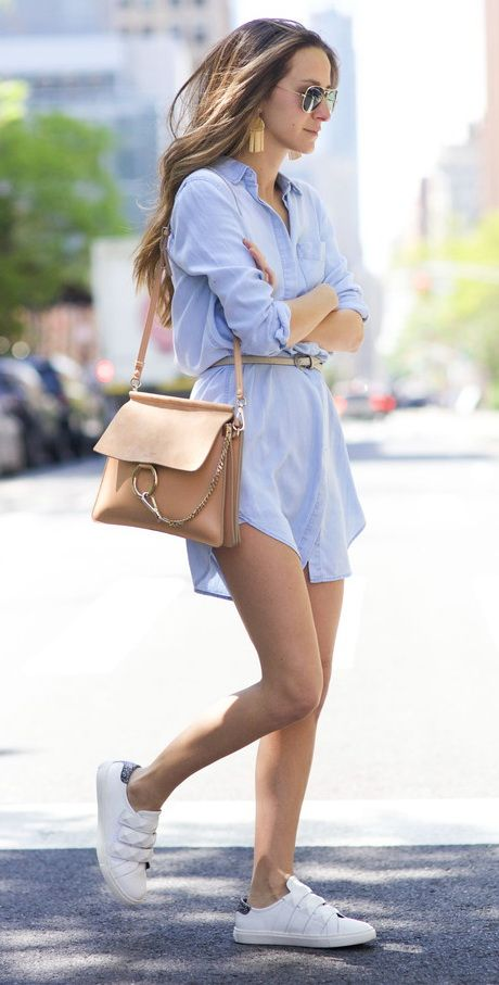 Oxford boyfriend shirt dress (Oxford Row) with Adidas tennis shoes and a nude shoulder bag.