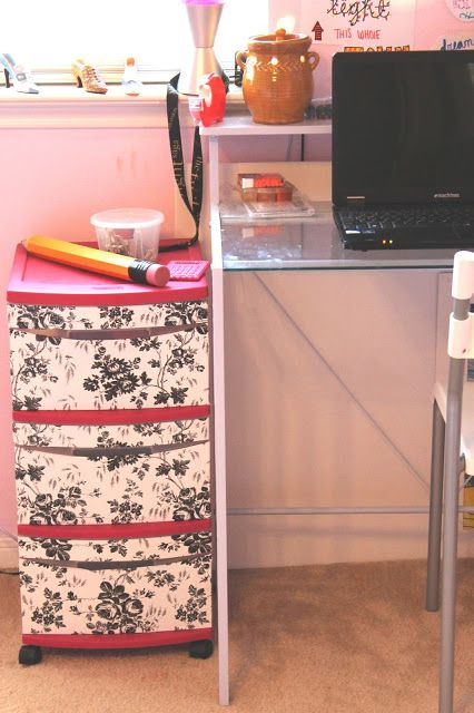 Contact Paper & Decor: Covering Some Old Plastic Drawers. | Nicki Woo