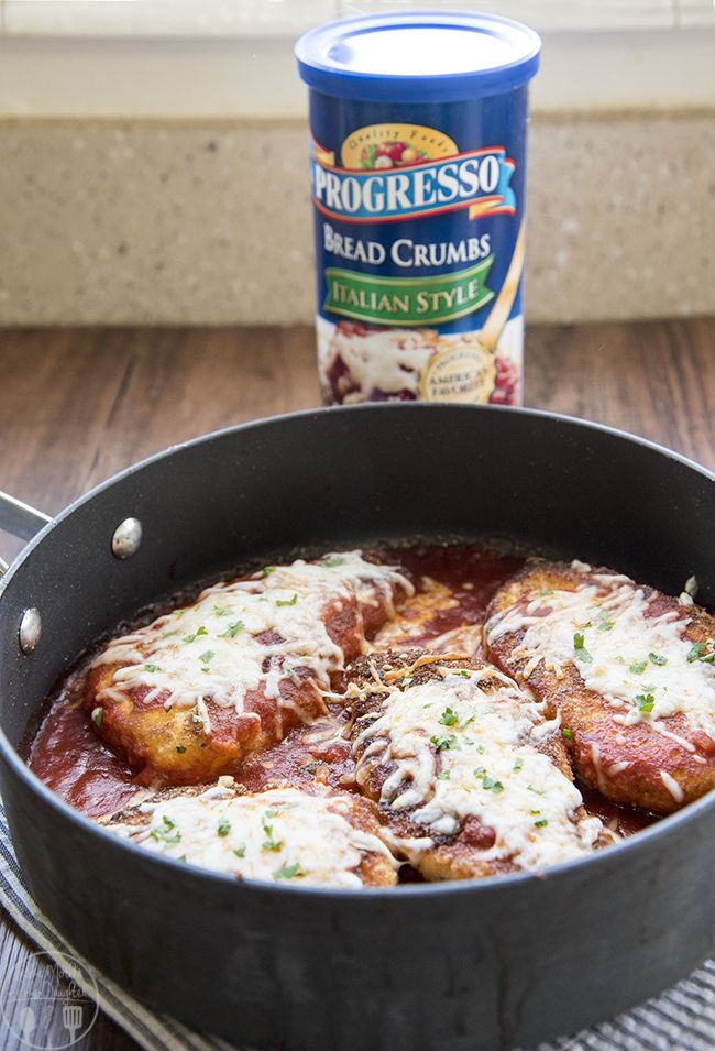 Chicken Parmesan - #AD Crispy bread crumb coated chicken in marinara sauce topped with melted cheese. Serve this dish with pasta for a delicious Italian style meal!