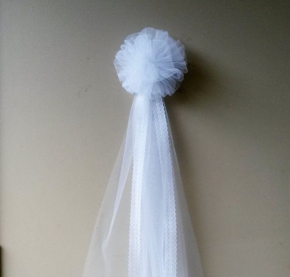 White Tulle Pew Bow Pom Tulle Pew Bow by DarlingChicBowtique