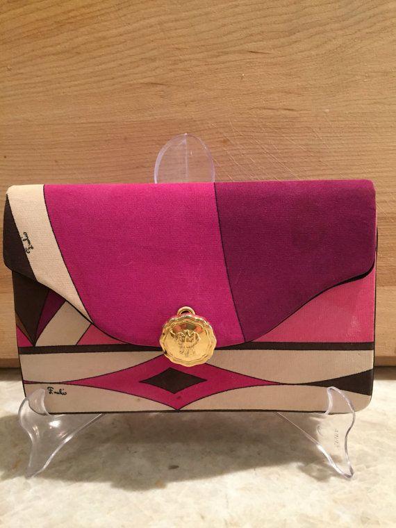 Vintage Pucci 1960's Clutch Purple Pink Beige  Signed