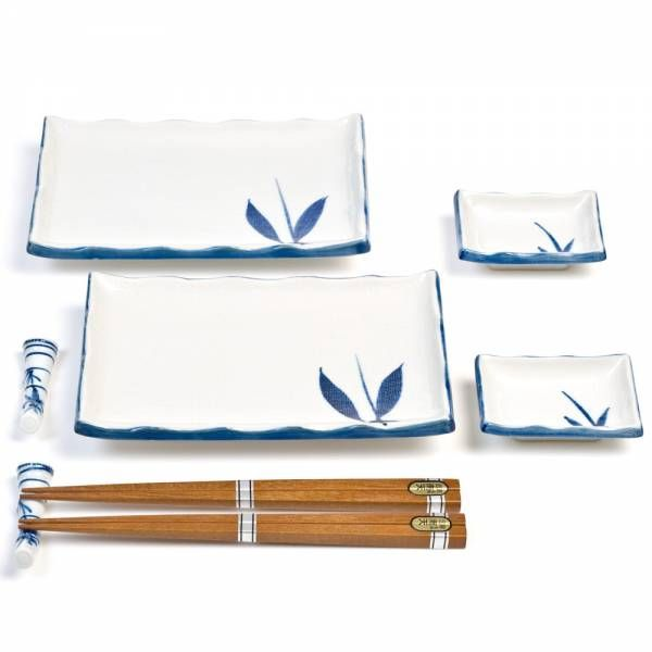 Tableware  Japanese Plates  Blue and White Bamboo Sushi Set - I kinda  sc 1 st  Pinterest & 57 best Sushi dish sets images on Pinterest | Dish sets Dinnerware ...