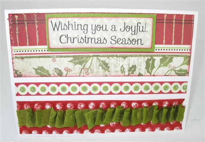 card by Tina Goodwin - Tina has pleated the satin seam binding ribbon. www.craftqueen.com.au