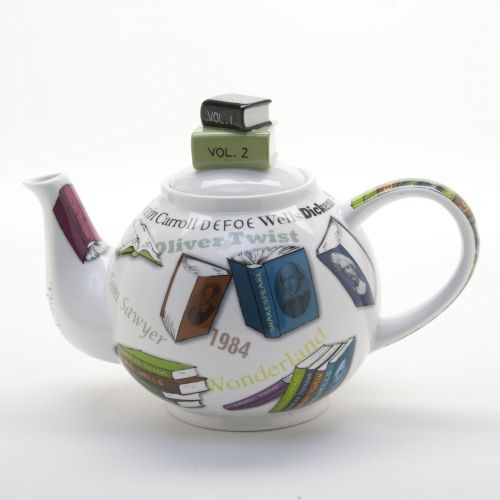 Books & teapots, yeah!: Novels Teas, Book Display, Book Lovers, Teas Time, Book Stacking, Ceramics Teapots, Teas Pots, Stacking Lids, Novels 18 Oz