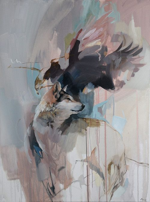 Paintings by artist Rico Blanco Great wet into wet background and mingling of the animal forms. The eye is led into and around the painting.