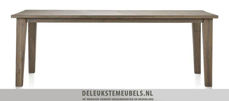 Deze Bandon eettafel 220cm is een plaatje. Hij heeft een natuurlijke uitstraling mede doordat het oppervlak handmatig is bewerkt. De poten lopen iets taps toe waardoor de tafel een speels effect krijgt. Snel leverbaar! http://www.deleukstemeubels.nl/nl/bandon-eettafel-220cm/g6/p1158/