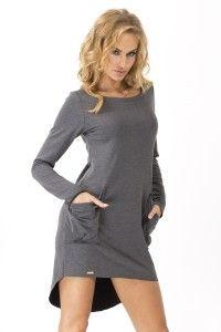Dresowa sukienka z kieszeniami - M159 - grafitowy melanż
