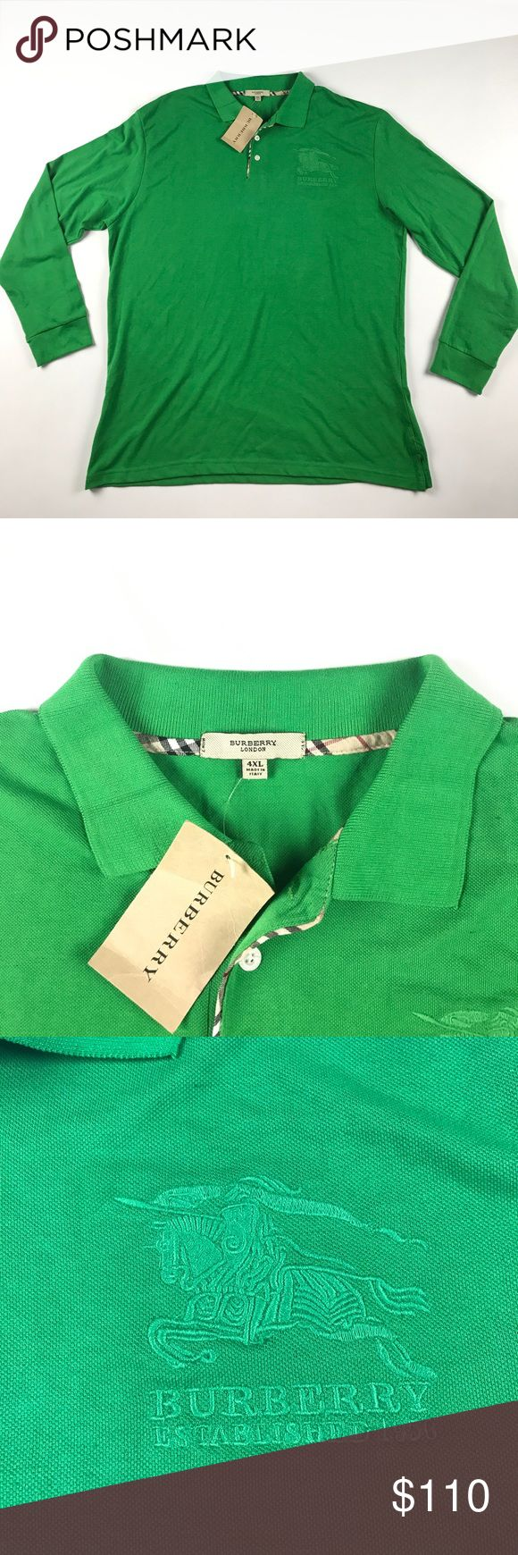 New Burberry London 4XL Long Sleeve Polo Green New with tags. Measures 24 inches pit to pit and 30 inches top to bottom Burberry Shirts Polos