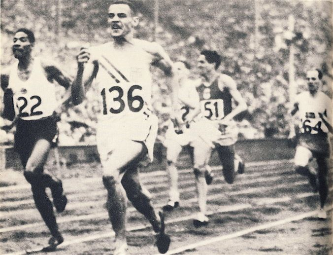 Mal Whitfield ( USA ) wins 1948 Olympic Games 800m from Aurther Wint ( Jamaica )…