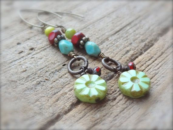 Lime Green Red & Teal Czech Glass Beaded Earrings on by Kitschish, $20.00