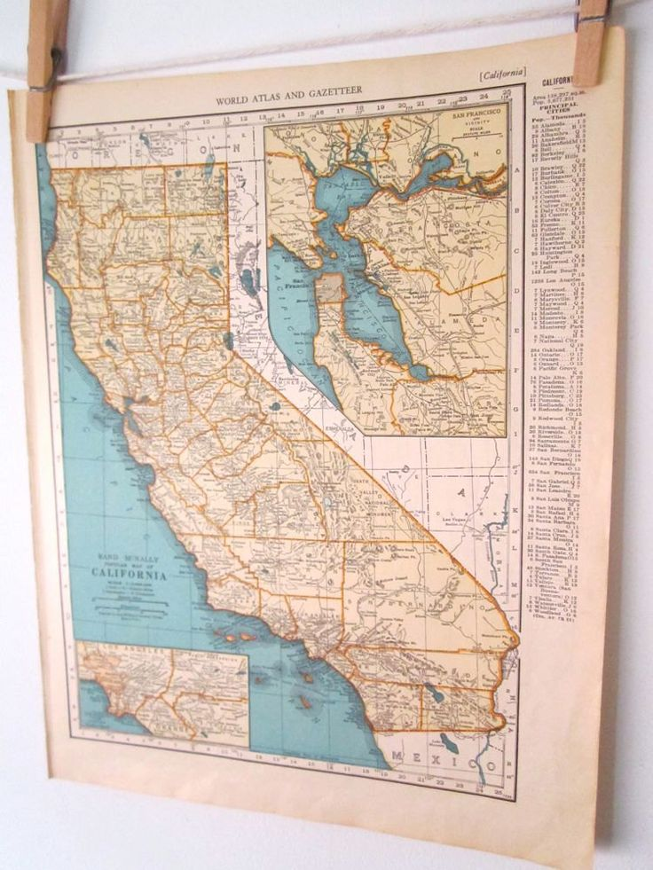 California Map Orange and Blue Antique California