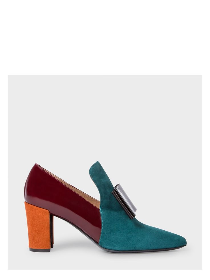 PAUL SMITH Women's Teal Colour-Block Suede And Leather 'Belvoir' Shoes. #