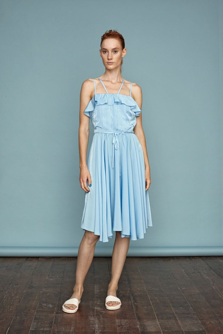 Light blue ruffled dress from Dori Tomcsanyi. #doritomcsanyi #ss15 #lookbook #collection #light blue