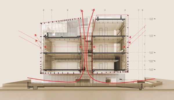 Simple Factory Building Pencil Office in Singapore Natural Ventilation Diagram Photos