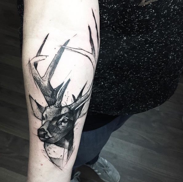 Sketch style stag tattoo by Kamil Mokot