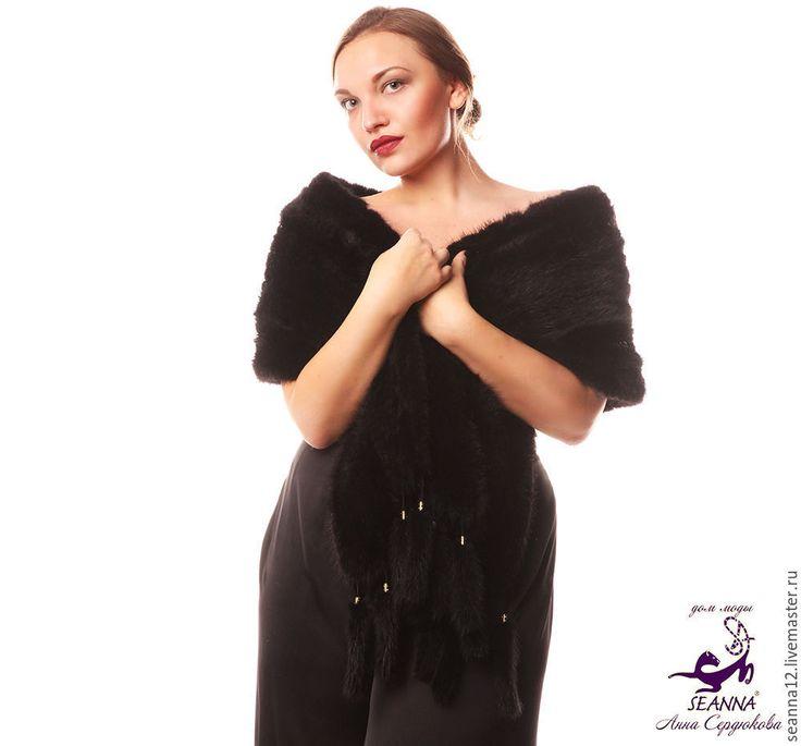 Купить Роскошный вязаный из норки шарф-палантин Черный Бриллиант - черный, норковый шарф