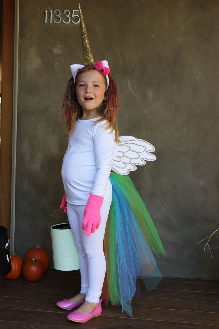 DIY No-Sew Rainbow Unicorn Costume