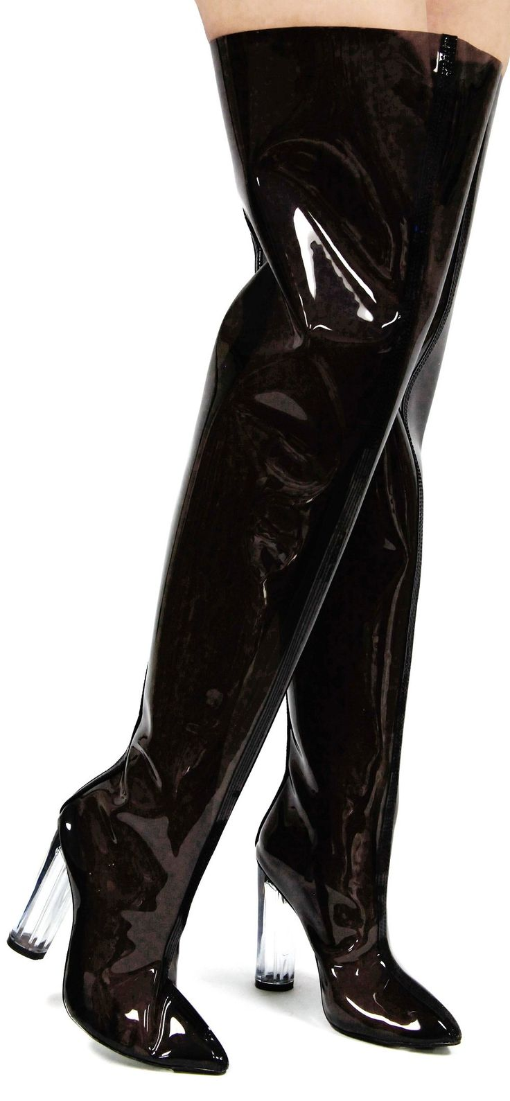 Ella-6 Pointy Toe Block Chunky Clear Perspex Heel Thigh High Boot Shoe Black