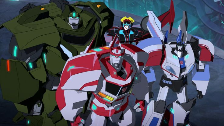 "The Temporary High Council: Bulkhead, Ratchet, Windblade and Jazz (from ""Freedom Fighters"")"