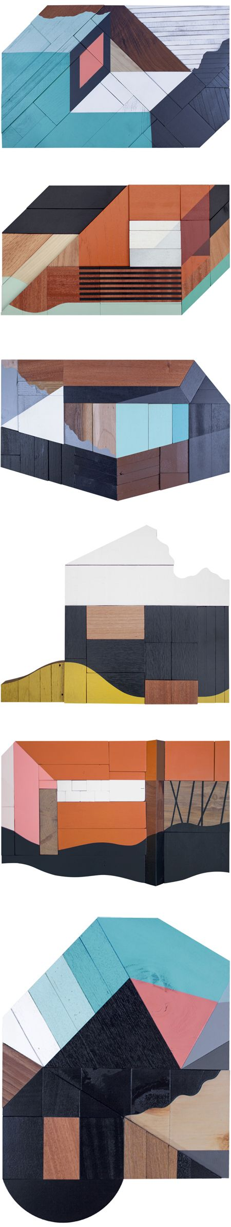 Oh my. Atlanta based artist Drew Tyndell has me wanting to move into a little, flat, wooden, multi-colored house. Pink & navy, straight angles & organic shapes, painted surface & exposed woodgrain… and of course, just the right amount of insane precision. Home sweet home.