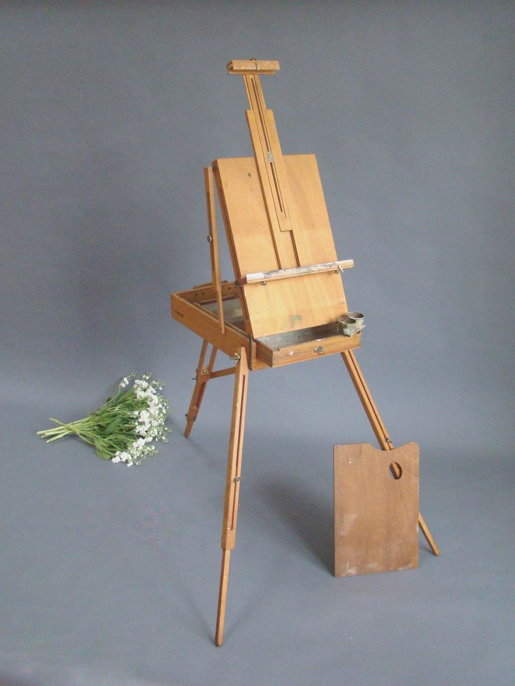Grumbacher Easel; Grumbacher 286; Portable Easel; Travel Easel; Wood; Paint Box; Vintage Easel; Fold up Easel; French Easel; Plein Aire by PurpleMouseStories on Etsy