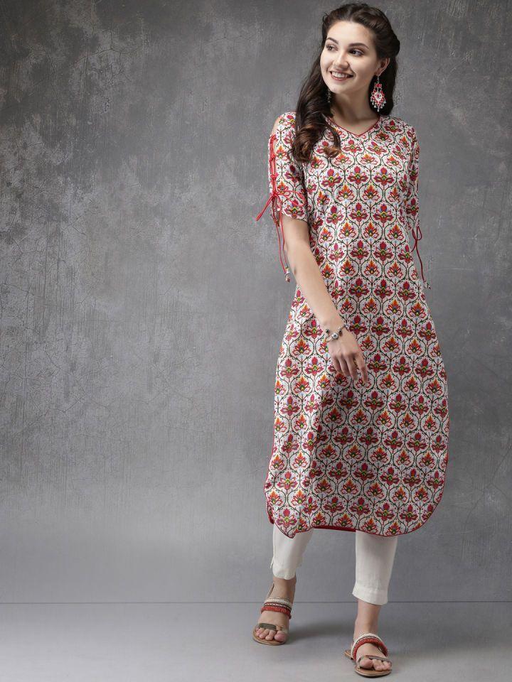 619965e2eff Buy Anouk Women White   Red Printed Straight Kurta - Kurtas for Women  2472850