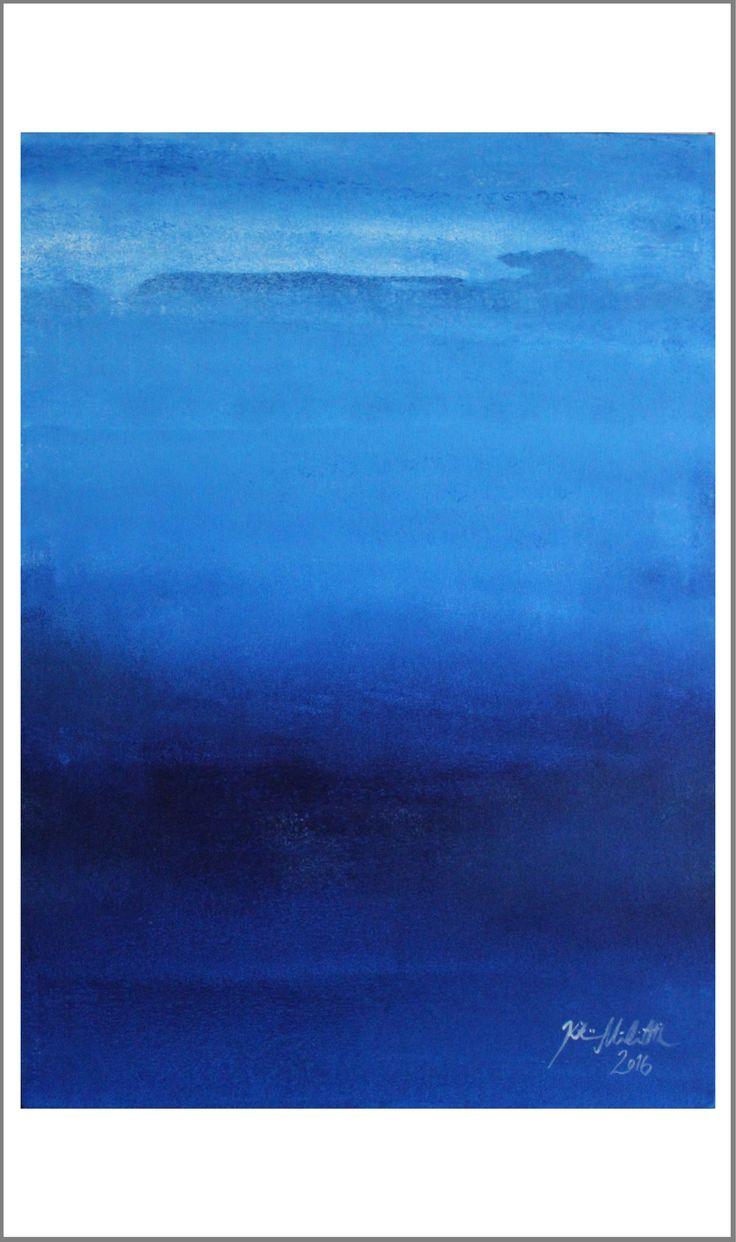 """""""Sininen aamu"""" (Blue morning), Kristiina Mäkimattila, 2016. Akryyli kankaalle.   Näyttely Nurmon kirjastossa 7.-28.2.2017"""