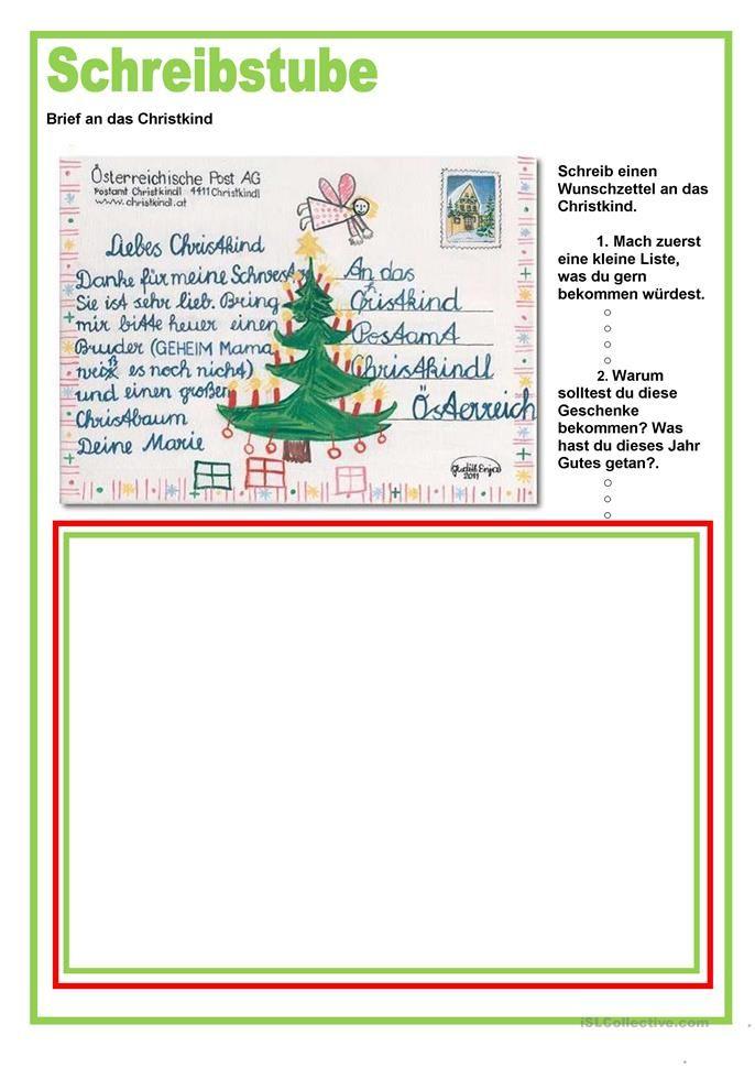 Schreibstube Brief An Das Christkind Weihnachten In 2020 Brief Ans Christkind Christkind Brief Deutsch