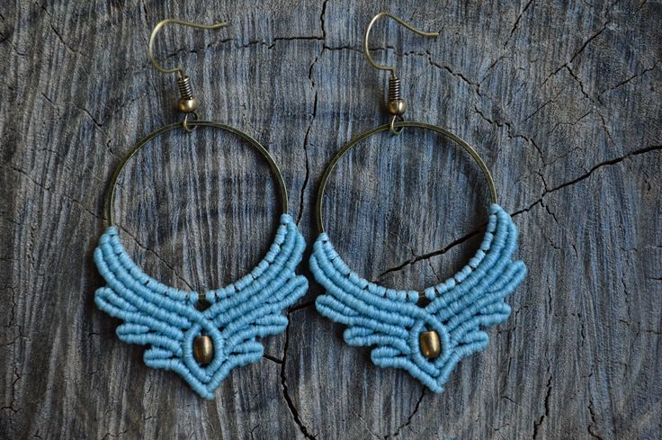 Macrame earrings with thin brass hoops and brass beads by IndigoMacrame on Etsy