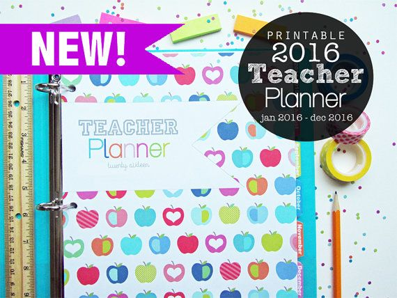 25% OFF 2016 Teacher Planner, Printable - Instant Download - January 2016 - December 2016, Logs, Lesson Planner, Lined Calendar, Australia