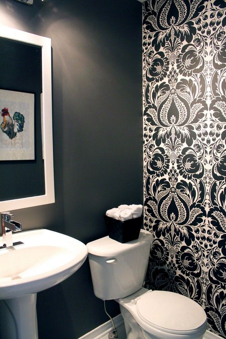 Spice Up Your Half Bathroom With These Beautiful Powder Room Design Ideas Wallpaper Accent Wall Bathroom Powder Room Small Powder Room Design