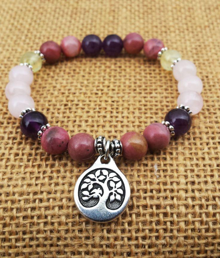 Bird In The Tree Charm Bracelet Round Stones Bracelet Zen Buddhist Yoga Gemstones Jewelry Anti Stress Women's Rhodonite Amethyst Quartz